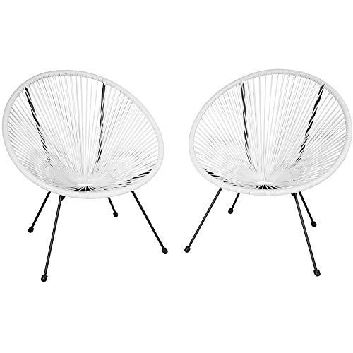 TecTake 800729 2er Set Acapulco Garten Stuhl, Lounge Sessel im Retro Design, Indoor und Outdoor, pflegeleicht, Relaxsessel zum gemütlichen Sitzen – Diverse Farben – (Weiß | Nr. 403303)