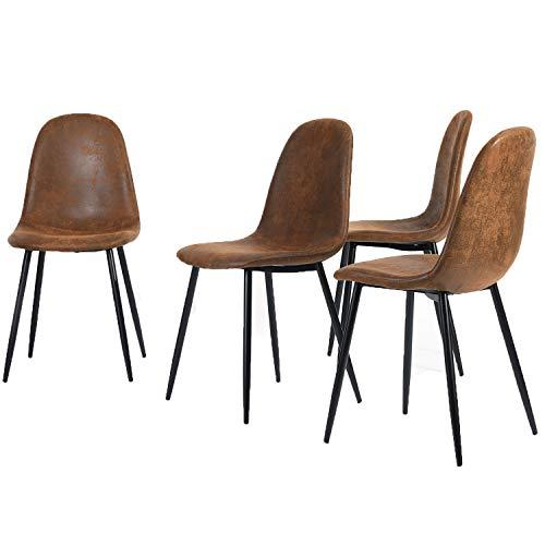 4er Set Esszimmerstühle Scandinavian Vintage Wildledersitz mit Stahlbeinen in Schwarz (Stoff in Lederoptik)