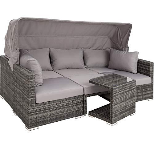 TecTake 800771 Aluminium Poly Rattan Lounge Set, 16-teilig, wetterfest, Garten Sofa mit Sonnendach, Outdoor Sitzgruppe inkl. Kissen und Beistelltisch – Diverse Farben – (Grau   Nr. 403237)