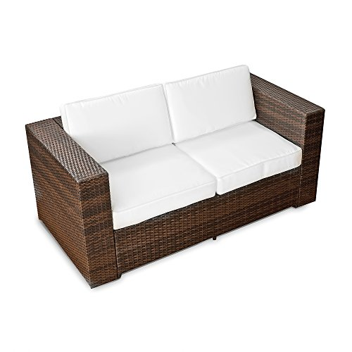 XINRO® (2er Polyrattan Lounge Sofa – Gartenmöbel Couch Bank Rattan – durch andere Polyrattan Lounge Gartenmöbel Elemente erweiterbar – In/Outdoor – handgeflochten – braun