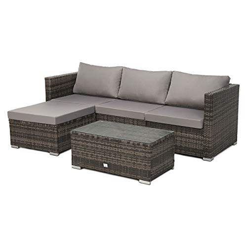 SVITA Queens 2020 Poly Rattan Sitzgruppe Couch-Set Ecksofa Sofa-Garnitur Gartenmöbel Lounge Schwarz, Grau oder Braun (Braun)