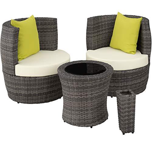 TecTake 800690 Aluminium Poly Rattan Sitzgruppe für 2 Personen, 8-teilig, Aufbewahrung in Ei-Form, wetterfest, inkl. Sitz- und Rückenkissen & Vase – Diverse Farben (Grau | Nr. 403141)