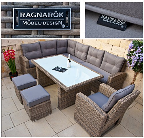 RAGNARÖK hohe Dinning Lounge – DEUTSCHE Marke – 8 Jahre GARANTIE EIGENE Produktion – PolyRattan Gartenmöbel Essgruppe Hocker Sessel verstellbare Lehn Naturfarben Rundrattan
