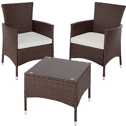 TecTake 800566 Poly Rattan Gartenset | 2 Stühle und Kleiner Tisch mit Glasplatte | Robustes Gestell aus Stahl – Diverse Farben – (Mixed-braun | Nr. 402863)