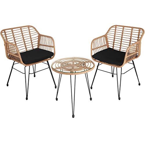 TecTake 800802 Rattan Sitzgruppe für 2 Personen, 3-TLG. Bistroset, Balkonset mit 2 Stühlen + Tisch, kleine Lounge für Garten Balkon Terrasse, inkl. Sitzkissen – Diverse Farben – (Natur   Nr. 403558)