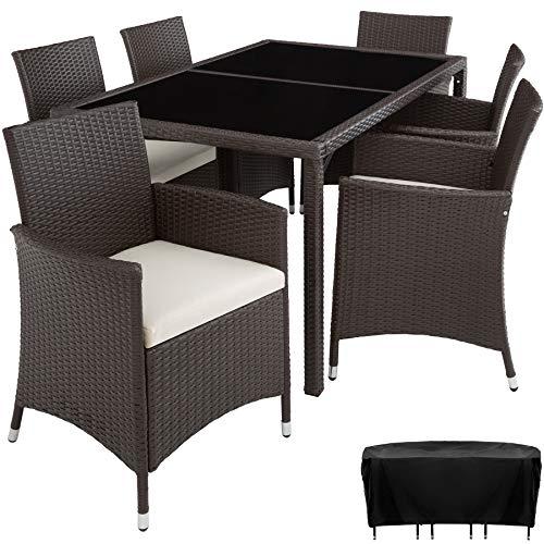TecTake 800325 – Poly Rattan Sitzgruppe, 6 Stühle mit Sitzkissen, 1 Tisch mit 2 Glasplatten, inkl. Schutzhülle – Diverse Farben – (Antik | Nr. 402060)