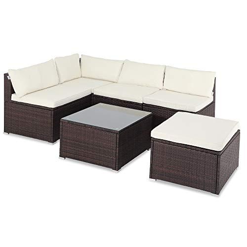 Casaria Poly Rattan XL Lounge Set inkl. 7cm Auflagen und 15cm dicken Kissen Tisch mit Glasplatte frei stellbare Elemente Gartenmöbel Sitzgruppe Braun Creme