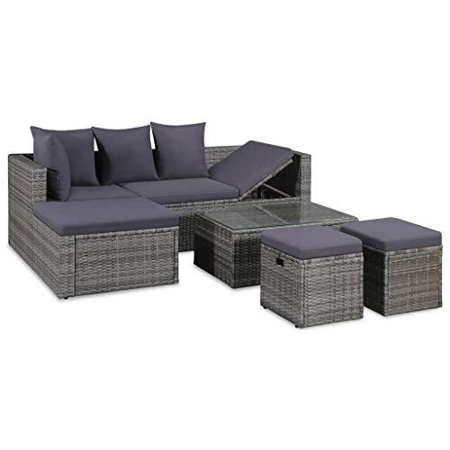 vidaXL Gartensofa 14-TLG. Poly Rattan Grau Lounge Sitzgruppe Sofa Gartenmöbel