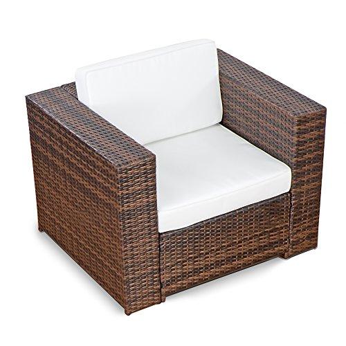 XINRO® (1er Premium Lounge Sessel – Lounge Sofa Gartenmöbel günstig Loungesofa Polyrattan XXL Rattan Sessel – In/Outdoor – handgeflochten – mit Kissen – braun