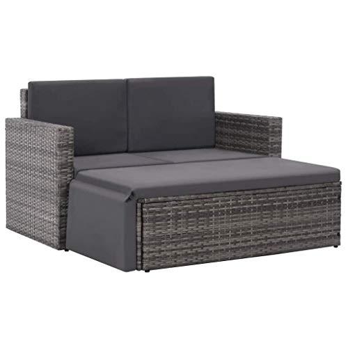 vidaXL Gartensofa 7-TLG. Poly Rattan Grau Gartenmöbel Lounge Sitzgruppe Sofa