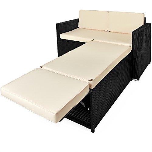 Deuba Poly Rattan Lounge Sofa 2 Sitzer Sitztruhe mit Stauraum Dicke Auflagen Relaxliege Sonnenliege Couch Set Schwarz