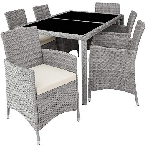TecTake 800325 – Poly Rattan Sitzgruppe, 6 Stühle mit Sitzkissen, 1 Tisch mit 2 Glasplatten, inkl. Schutzhülle – Diverse Farben – (Hellgrau | Nr. 403704)