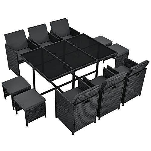 Juskys Polyrattan Sitzgruppe Baracoa XL 11-teilig wetterfest & stapelbar – Gartenmöbel Set mit 6 Stühle, 4 Hocker & Tisch für Garten & Terrasse