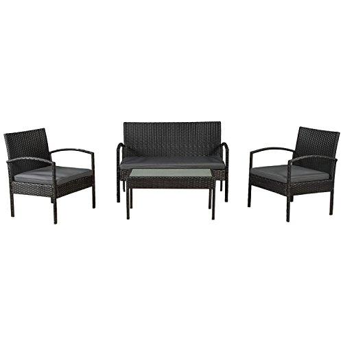 ArtLife Polyrattan Sitzgruppe Trinidad – Gartenmöbel Set mit Bank, Sessel & Tisch für 4 Personen – schwarz mit grauen Bezüge – Terrassenmöbel Balkonmöbel Lounge
