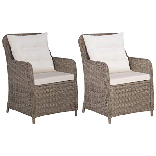 vidaXL 2X Gartensessel Poly Rattan Gartenstuhl Stuhl Sessel Stühle Gartenmöbel