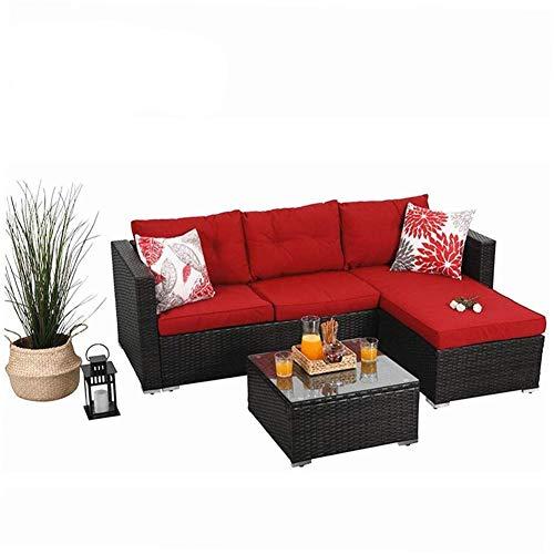 PHI VILLA Rattan Gartenmöbel Sets mit Aluminiumrahmen weiches waschbares Kissen, Sitzgruppe Polyrattan Lounge Sets 3 Teilig mit Glastisch Outdoor (Rot)