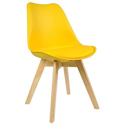 WOLTU BH29gb-1 1 x Esszimmerstuhl 1 Stück Esszimmerstuhl Design Stuhl Küchenstuhl Holz Gelb