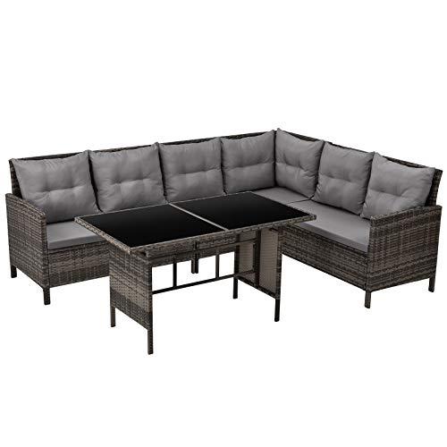 SVITA Poly Rattan Ecksofa Rattan-Lounge Esstisch Gartenmöbel-Set Sofa Garnitur Couch-Eck (Dining Set, Braun)