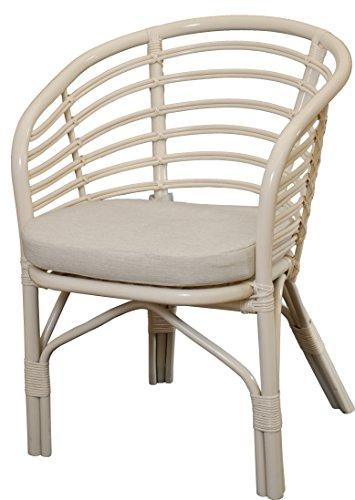 Moderner Korb-Sessel/Flecht-Stuhl im skandinavischem Stil Farbe Creme, Sessel mit Polster aus Natur-Rattan DE