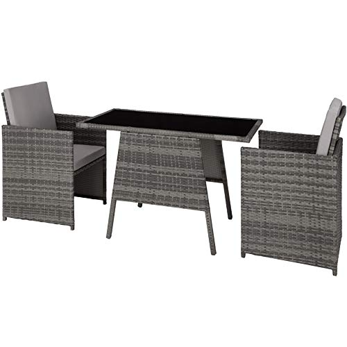 TecTake 800682 Polyrattan Sitzgruppe für 2 Personen, zusammenschiebbar, 2 Stühle & 1 Tisch mit Glasplatte, inkl. Sitz- und Rückenkissen – Diverse Farben – (Grau   Nr. 403097)