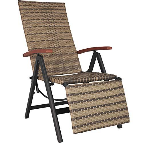 TecTake 800720 Aluminium Poly Rattan Relaxsessel mit Fußablage, klappbar & verstellbar, für Garten, Balkon & Terrasse, Gartenstuhl, witterungsbeständig – Diverse Farben – (Natur | Nr. 403861)
