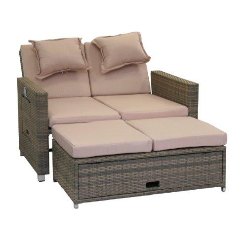 greemotion Rattan-Lounge Bahia Twin, Sofa & Bett aus Polyrattan, indoor & outdoor, 2er Garten-Sofa mit Stahl-Gestell, Daybed zweigeteilt, grau-bicolor