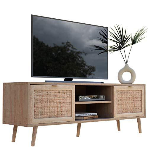 Newfurn TV Lowboard Sonoma Eiche Rattan Optik TV Schrank Modern Skandinavisch – 150x52x40 cm (BxHxT) – Fernsehtisch TV Board Rack Boho – [Mila.Eight] Wohnzimmer