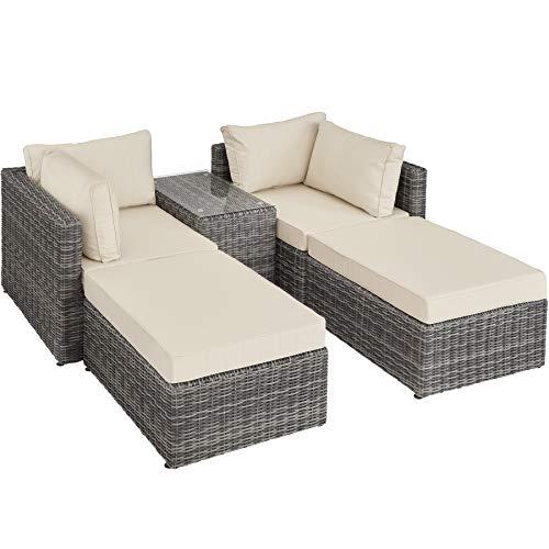 TecTake 800694 Aluminium Polyrattan Multifunktions Loungegruppe Gartensofa mit Tisch, für Garten oder Terrasse, vielseitig kombinierbar, inkl. Polster – Diverse Farben (Grau   Nr. 403169)