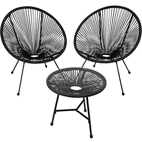 TecTake 800730 2er Set Acapulco Garten Stuhl mit Tisch, Lounge Sessel im Retro Design, Indoor und Outdoor, pflegeleicht, Relaxsessel zum gemütlichen Sitzen – Diverse Farben – (Schwarz   Nr. 403307)