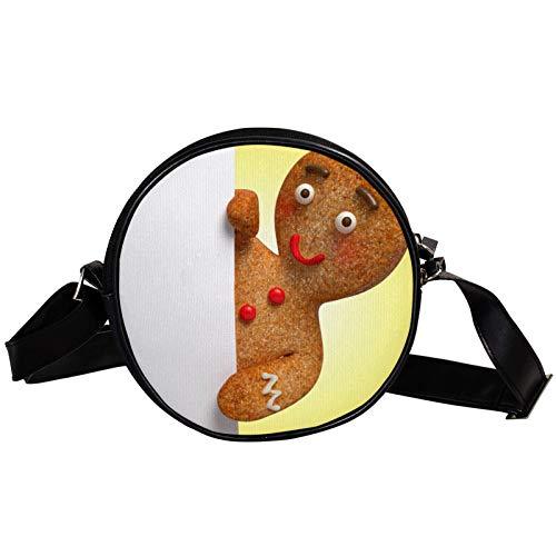 Runde Crossbody Tasche Kleine Handtasche Damen Mode Schultertaschen Messenger Bag Canvas Tasche Hüfttasche Zubehör für Frauen – Cookies liegen auf dem Riss der Tür