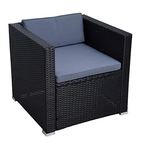 ESTEXO Polyrattan Gartensessel Loungesessel Rattan Lounge Sessel Gartenstuhl Stuhl (Schwarz)