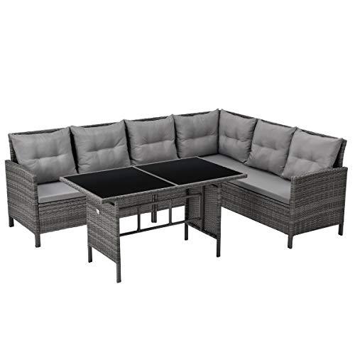 SVITA Madison & Monroe Polyrattan Ecksofa Rattan-Lounge Esstisch Gartenmöbel-Set Sofa Garnitur Couch-Eck (Madison, Grau)