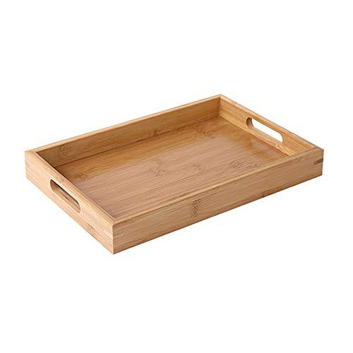 Serviertablett aus Bambus für Tee, Tasse, Untertasse, Obstteller, Aufbewahrung, Palettenplatte, Dekoration, japanische Lebensmittel, rechteckiger Teller (Größe : M)