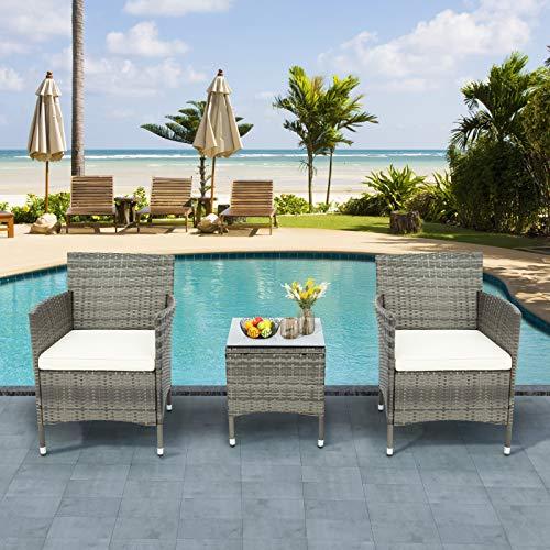 NZXVSE Polyrattan Sitzgruppe für 2 Personen,Poly Rattan Lounge Set,2 Sessel Bank & Tisch 5cm Dicke Auflagen Sitzgruppe Garten Balkonset Gartenmöbel,Grau