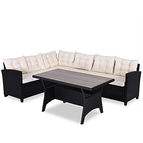 Casaria Poly Rattan Sitzgruppe Ecklounge Lissabon WPC Garten Tisch 7cm Auflagen 340 cm Sitzfläche Eckbank Sitzgarnitur – Schwarz