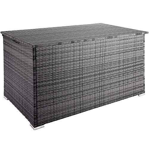 TecTake 800715 Aluminium Polyrattan Auflagenbox, wetterfeste und rostfreie Konstruktion, mit Gasdruckfedern, 750 Liter, 145 x 82,5 x 79,5 cm – Diverse Farben – (Grau | Nr. 403276)