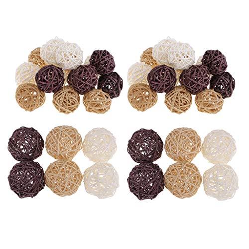 Harilla 42Pcs 3 / 7cm Rattan Wicker Balls Home Hochzeitsfeier Tisch Florist Dekor Designs