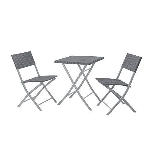SVITA Poly-Rattan Bistro-Set Tisch Stuhl Balkon-Set Klappbar Rattan-Set Grau