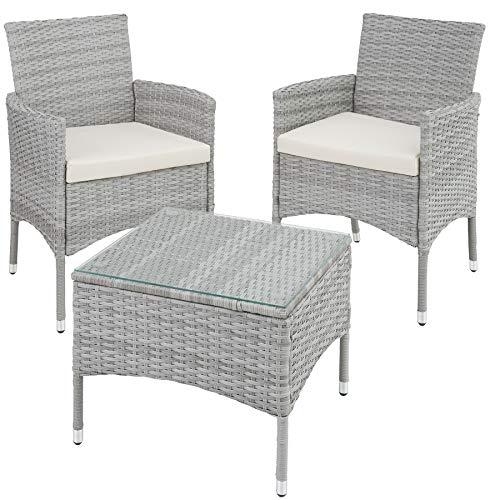 TecTake 800566 Poly Rattan Gartenset | 2 Stühle und Kleiner Tisch mit Glasplatte | Robustes Gestell aus Stahl – Diverse Farben – (Hellgrau | Nr. 403702)