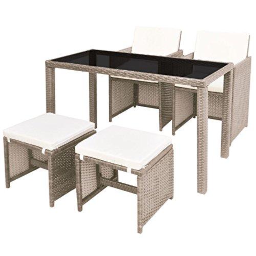 vidaXL Gartenmöbel 5-TLG. mit Auflagen Sitzgruppe Gartenset Sitzgarnitur Gartengarnitur Gartentisch Tisch Esstisch Stühle Poly Rattan Beige