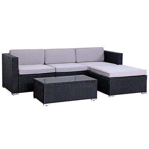 SVITA California Poly-Rattan Lounge Gartenset Sofa-Set Garnitur Gartenmöbel Couch-Set