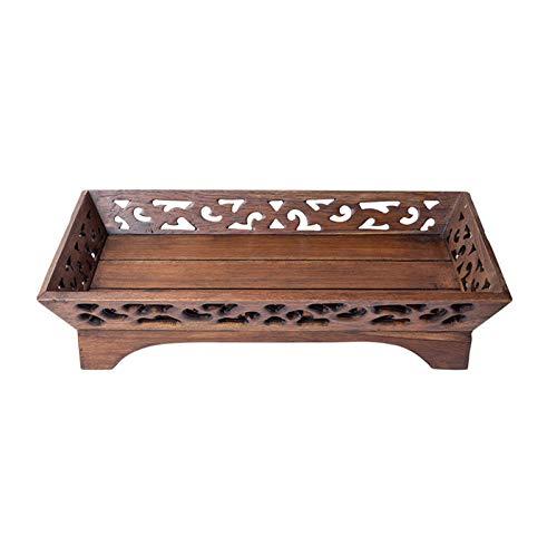 Tablett aus Massivholz, hohles Tablett für Zuhause, Wohnzimmer, Snacktablett, Kaffeetisch, Dekoration, Holz, Retro, Obsttablett (Größe: L)