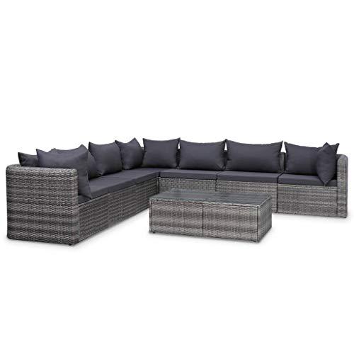 Festnight 8-TLG. Garten-Sofagarnitur Gartenmöbel Lounge Set Sitzgruppe Gartenlounge mit Sofa & Tisch Gartenset mit Sitzpolster Couch-Set für Garten Terrasse Balkon Poly Rattan Grau