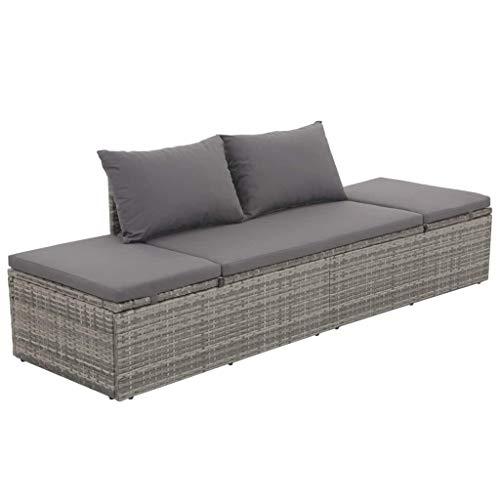 Festnight Garten-Sonnenliege aus Poly Rattan | Verstellbar Gartenbank Lounge Sofa Liege mit Sitzpolster | GartenmoeBel (Grau und Dunkelgrau)