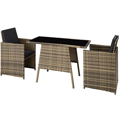 TecTake 800682 Polyrattan Sitzgruppe für 2 Personen, zusammenschiebbar, 2 Stühle & 1 Tisch mit Glasplatte, inkl. Sitz- und Rückenkissen – Diverse Farben – (Natur   Nr. 403733)