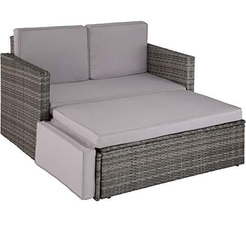 TecTake 800884 Poly Rattan Lounge Set, 2-Sitzer Sofa mit Rückenlehne, großer Hocker mit klappbarer Stütze, inkl. Dicke Auflagen, Gartenmöbel Set für Garten & Terrasse (Grau   Nr. 403884)