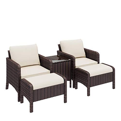 Homfa 5er Gartenmöbel Set Polyrattan Sitzgruppe Rattan Lounge mit Kissen Gartenset für bis zu 4 Personen, Sofa Set mit Sessel, Couchtisch und Hocker für Garten Balkon und Terrasse Braun Beige