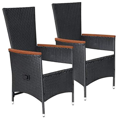 vidaXL 2X Gartenstuhl mit Polstern Gartensessel Sessel Stuhl Hochlehner Gartenmöbel Rattanmöbel Rattansessel Stühle Poly Rattan Schwarz