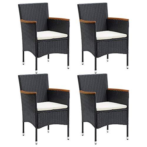 vidaXL 4X Garten Essstuhl Gartensessel Sessel Stuhl Gartenstuhl Stühle Rattanstuhl Rattansessel Stuhlset Gartenmöbel Poly Rattan Schwarz