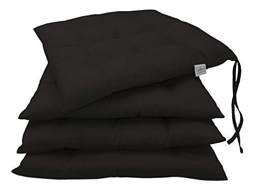 ZOLLNER 4er Set Stuhlkissen mit Bänder, 40×40 cm, schwarz (weitere verfügbar)